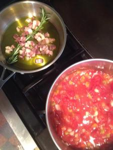sauce with pancetta and rosemary
